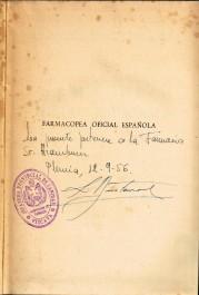 Farmacopea española 9ª ed, certificado de pertenencia